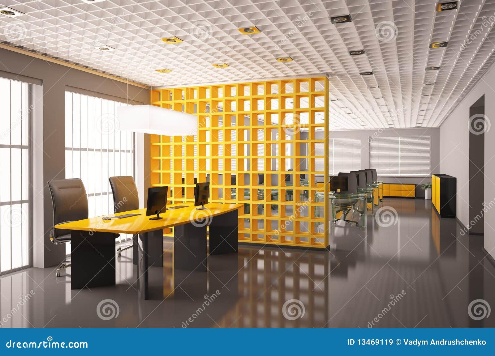 Moderne bureau binnenlandse 3d geeft terug