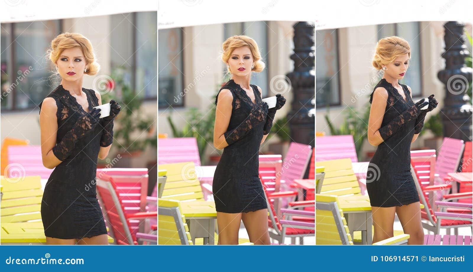 Moderne Dame mit kurzem schwarzem Spitzekleid und roter Schal und hohe Absätze, Außenaufnahme Junge attraktive kurzhaarige Blondi