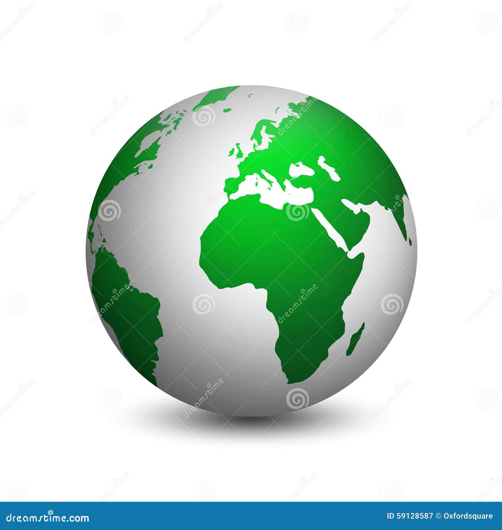 Moderne die aarde in groen wordt gekleurd