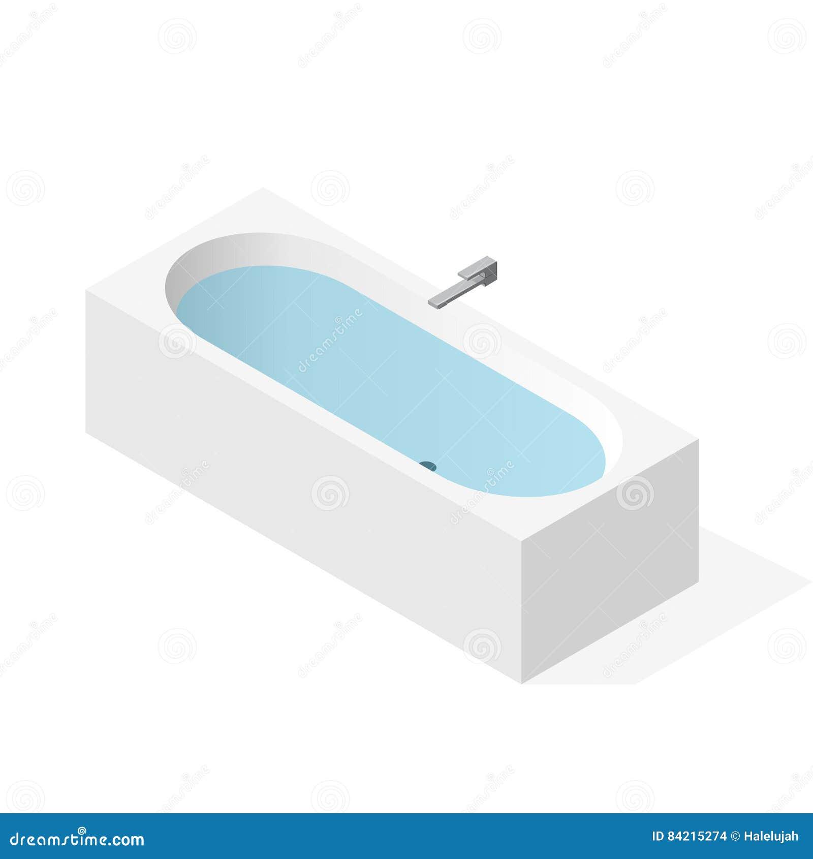 Moderne die badkuip met water wordt gevuld Vectorbadton, isometrisch perspectief