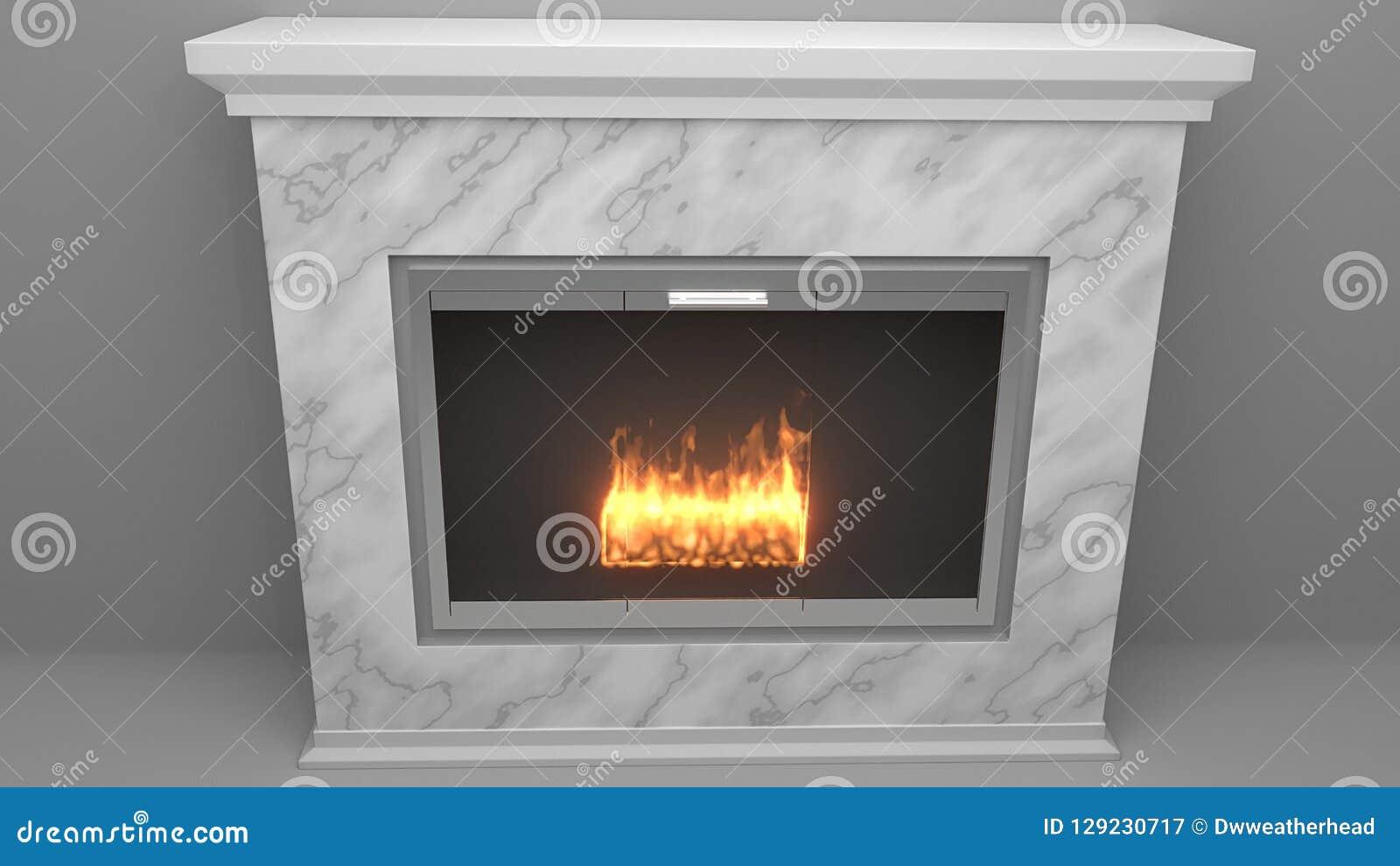 Moderne die open haard van marmer met vlammen wordt gemaakt stock