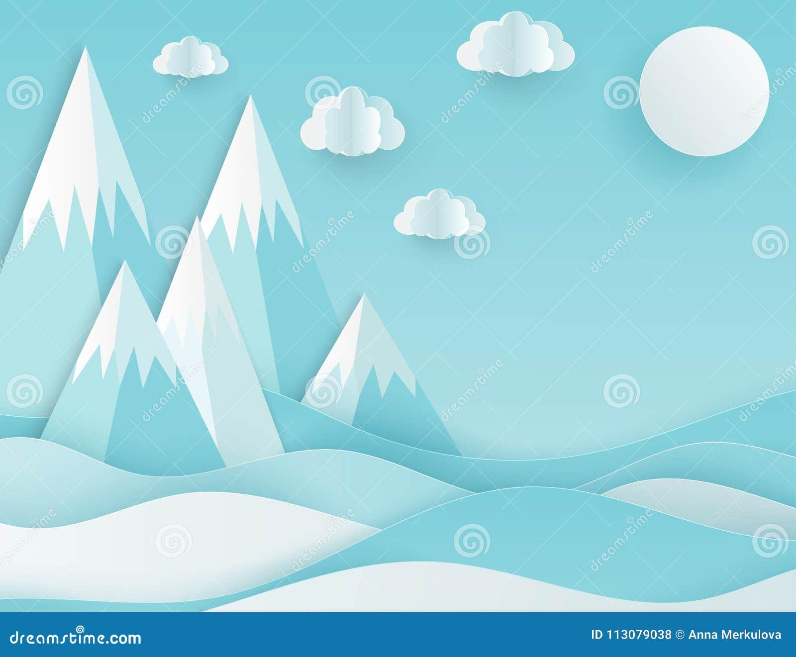 Moderne document kunstwolken en bergen Leuke beeldverhaal pluizige wolk