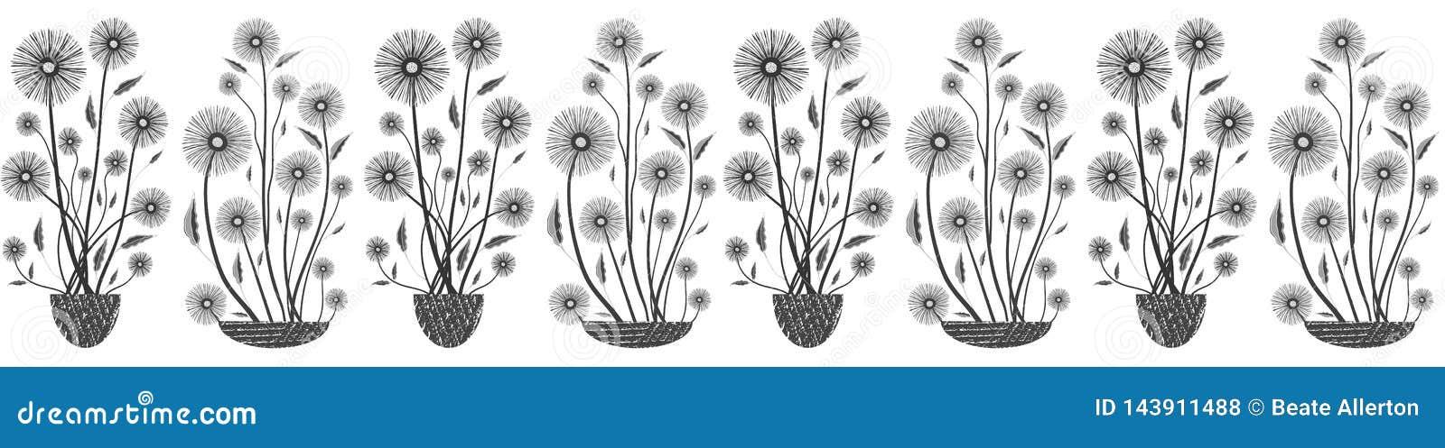 Moderne elegante nahtlose Vektormit blumengrenze in Schwarzweiss auf weißem Hintergrund Handgezogene Blumen und gemasert