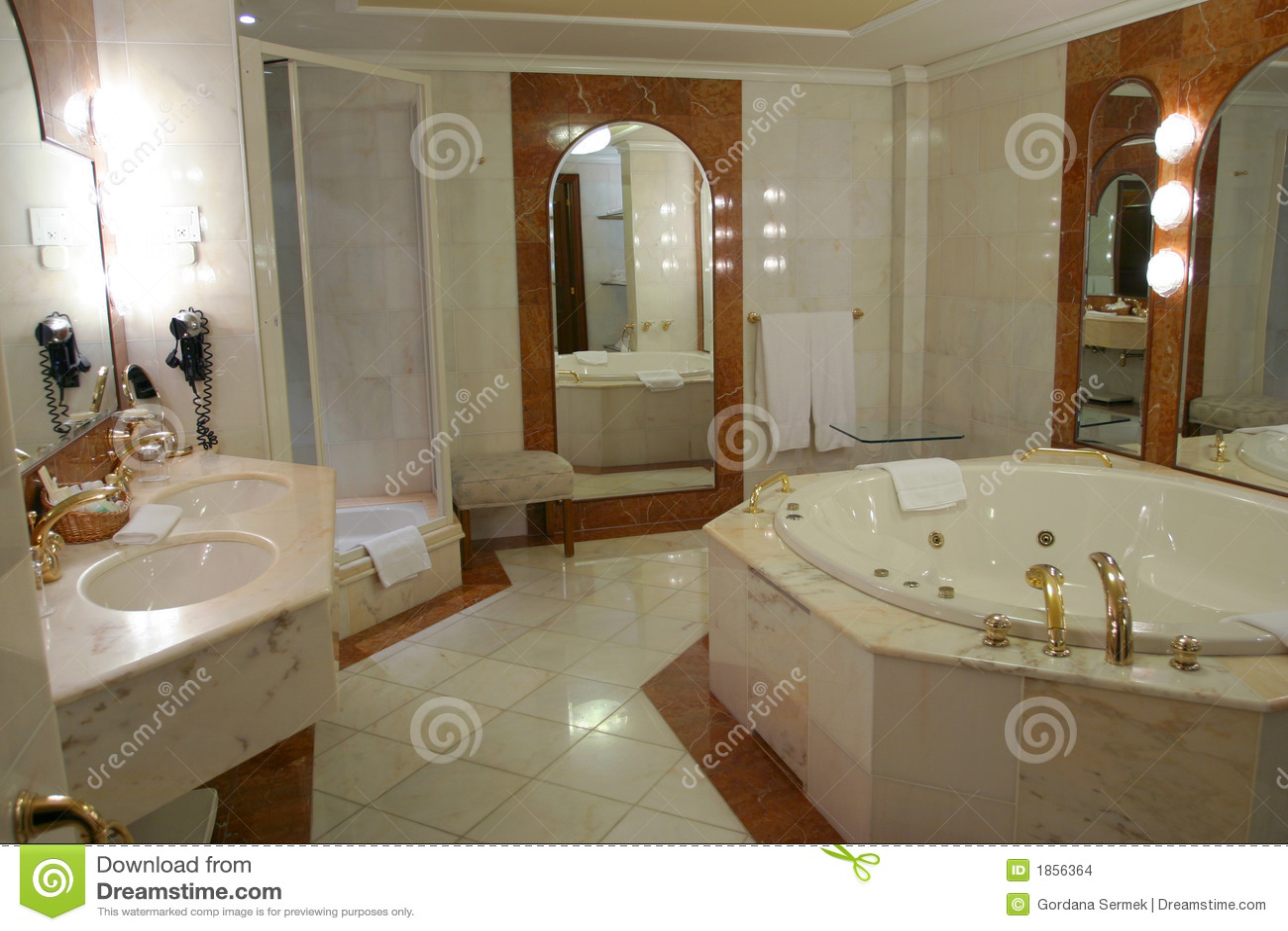 Moderne en ruime badkamers stock foto afbeelding for Salle de bain jacuzzi