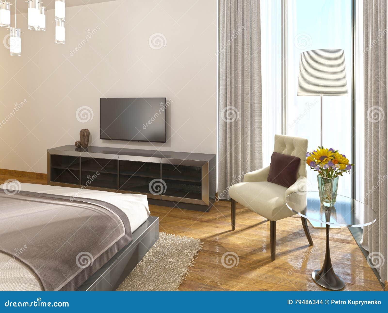 Moderne Fernseheinheit In Einem Hotelzimmer Von Art Deco Stock ...