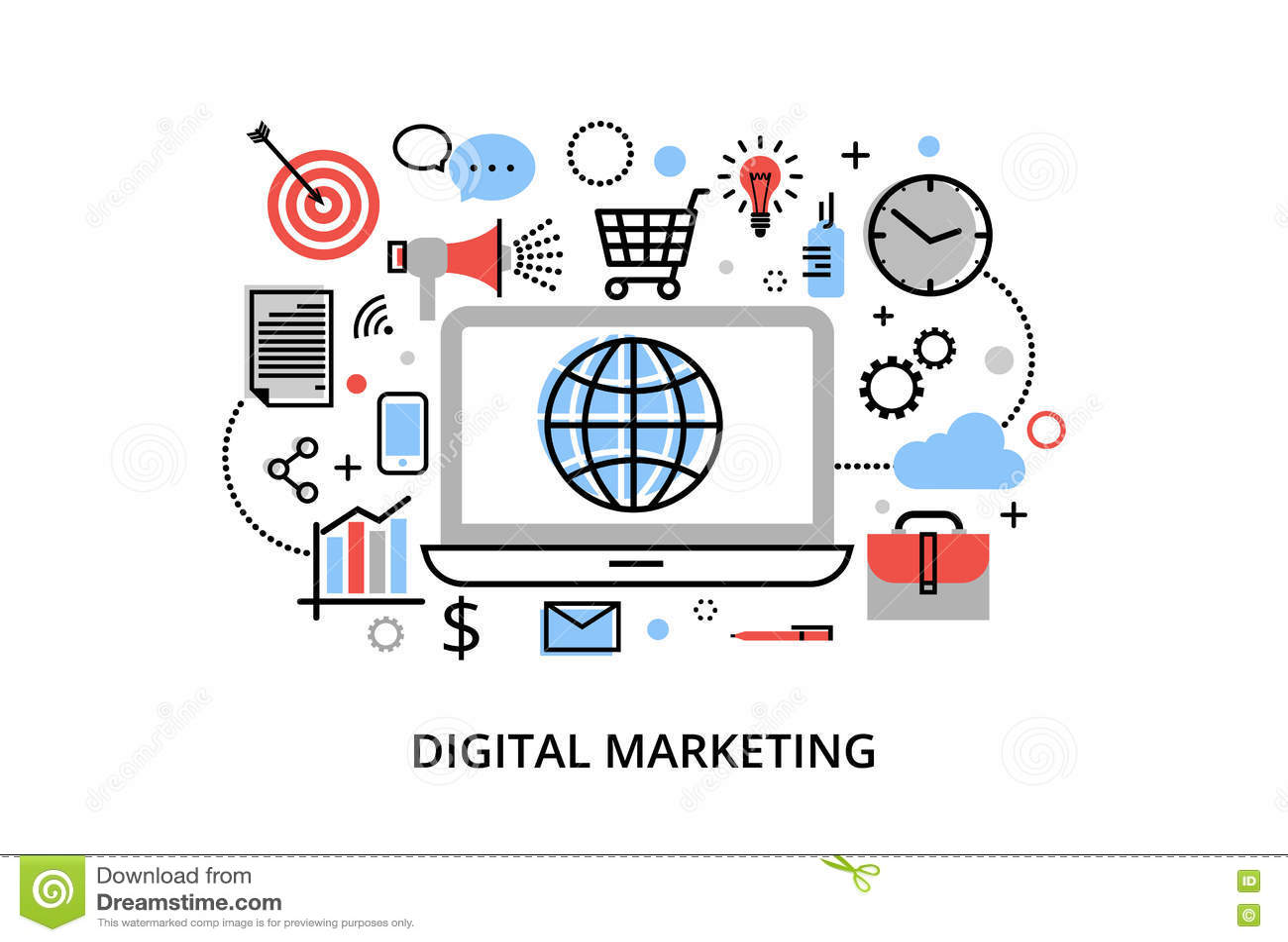 Moderne flache dünne Linie Designvektorillustration, Konzept des digitalen Marketings, Internet-Marketing-Idee und neuer Markt ne