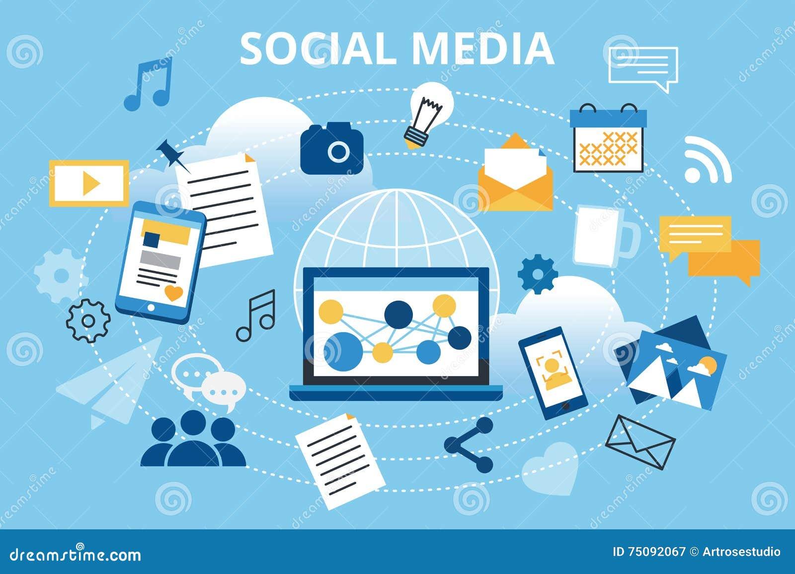 Moderne flache Designvektorillustration, Konzept des Social Media, Social Networking, Netz communtity und Aufgabennachrichten