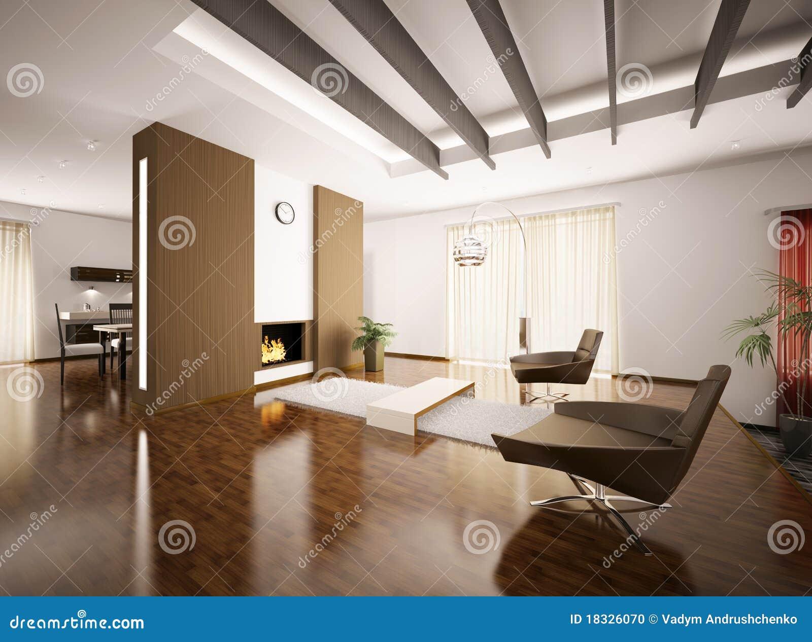 Moderne flat binnenlandse 3d geeft terug stock illustratie for Foto appartamenti moderni