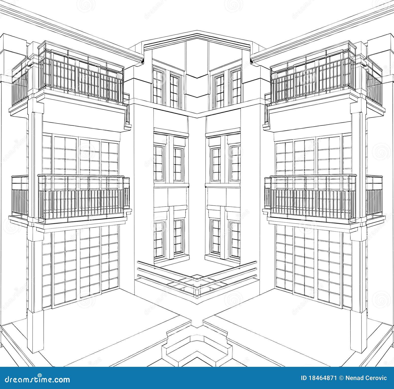 moderne geb ude ecken wohnhaus vektor 08 stockbild bild 18464871. Black Bedroom Furniture Sets. Home Design Ideas