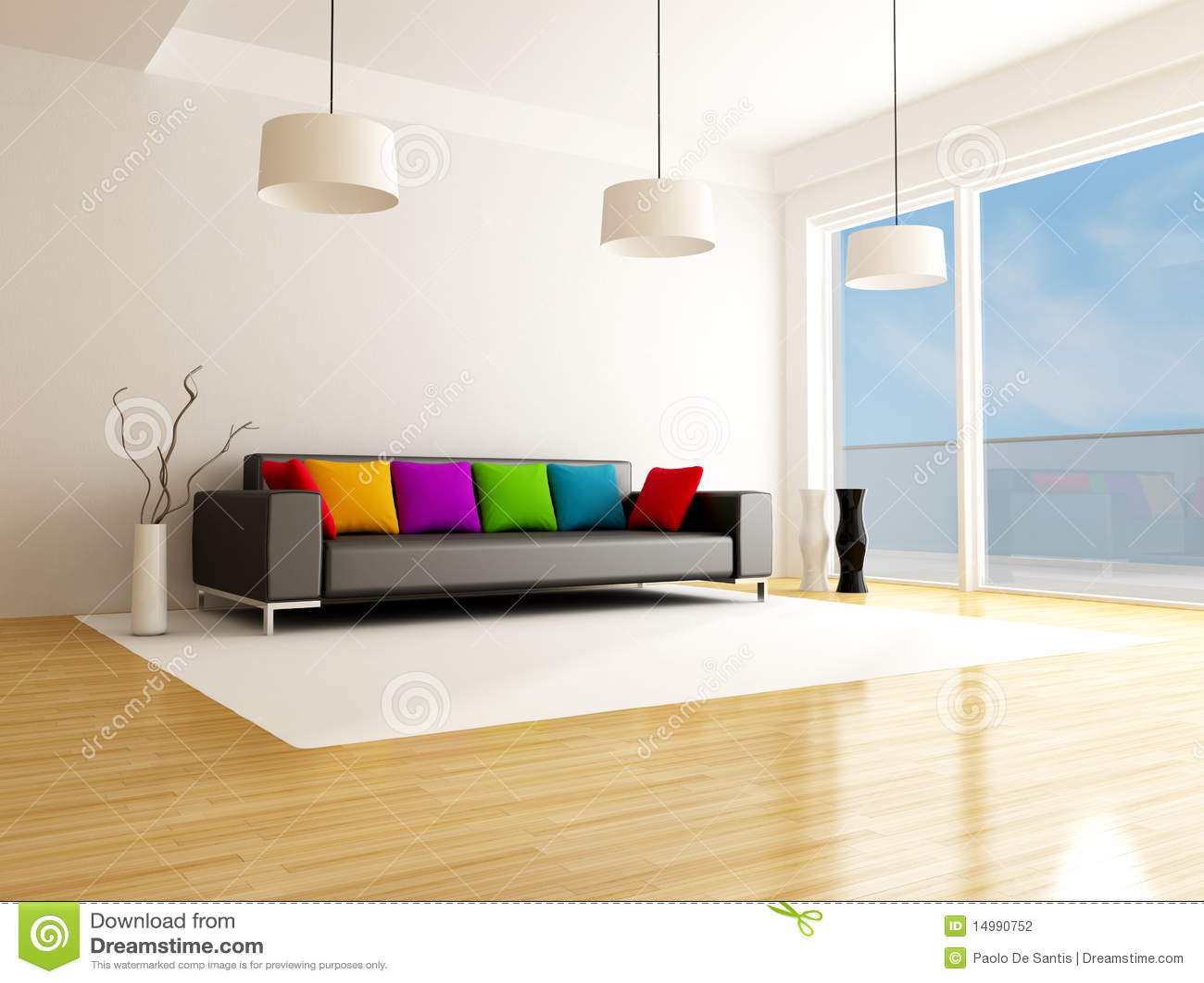 Moderne Gekleurde Woonkamer Stock Illustratie - Illustratie ...