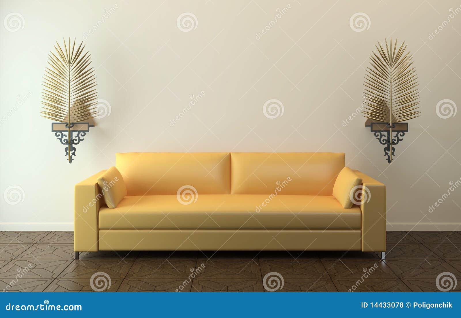 Moderne gelbe couch lizenzfreie stockfotos bild 14433078 - Gelbe couch ...