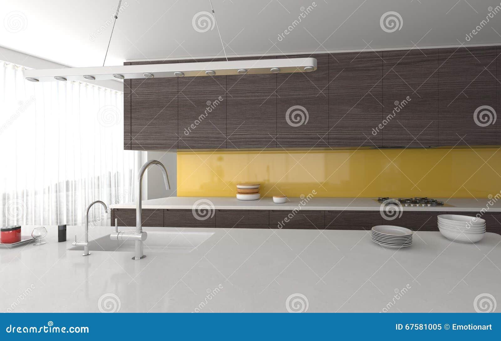 Grijze Keuken Modern : Moderne gele en grijze keuken zonder tussenmuren stock illustratie