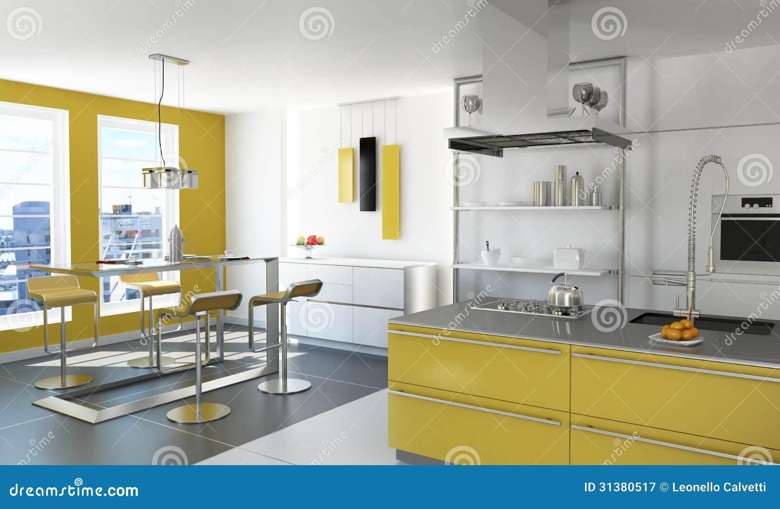 Moderne Gele Keuken. Royalty-vrije Stock Fotografie - Afbeelding ...