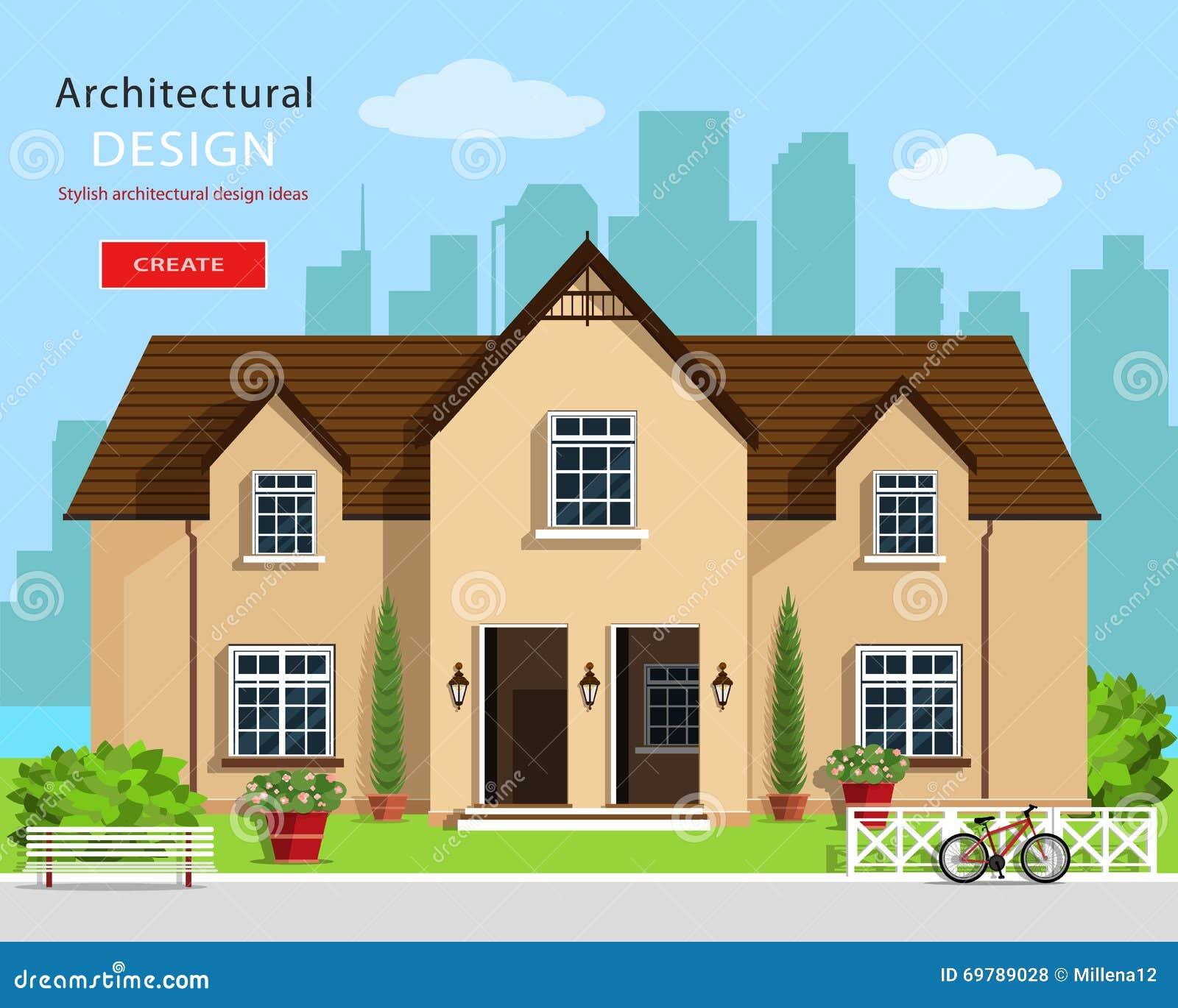 Moderne Grafische Architektonische Gestaltung Bunter Satz: Haus ...