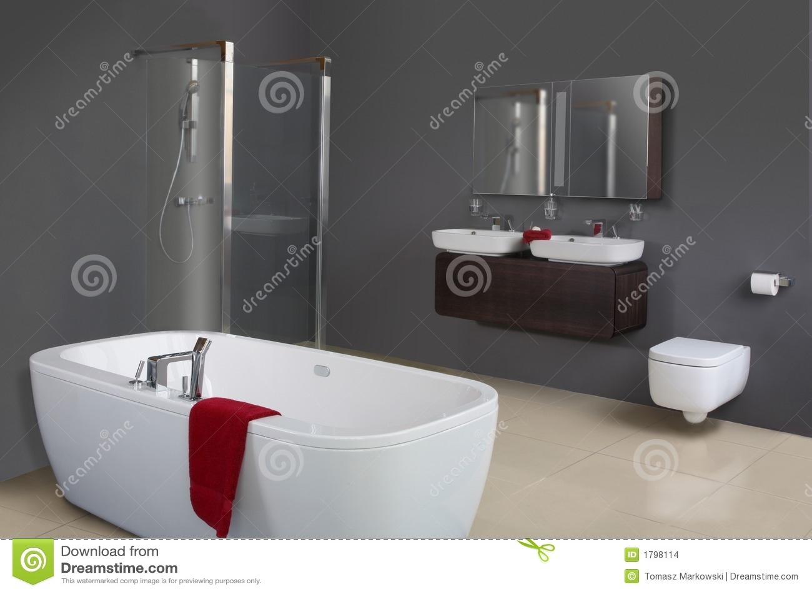 Moderne grijze badkamers stock afbeeldingen afbeelding 1798114 - Idee deco toilet in grijs ...