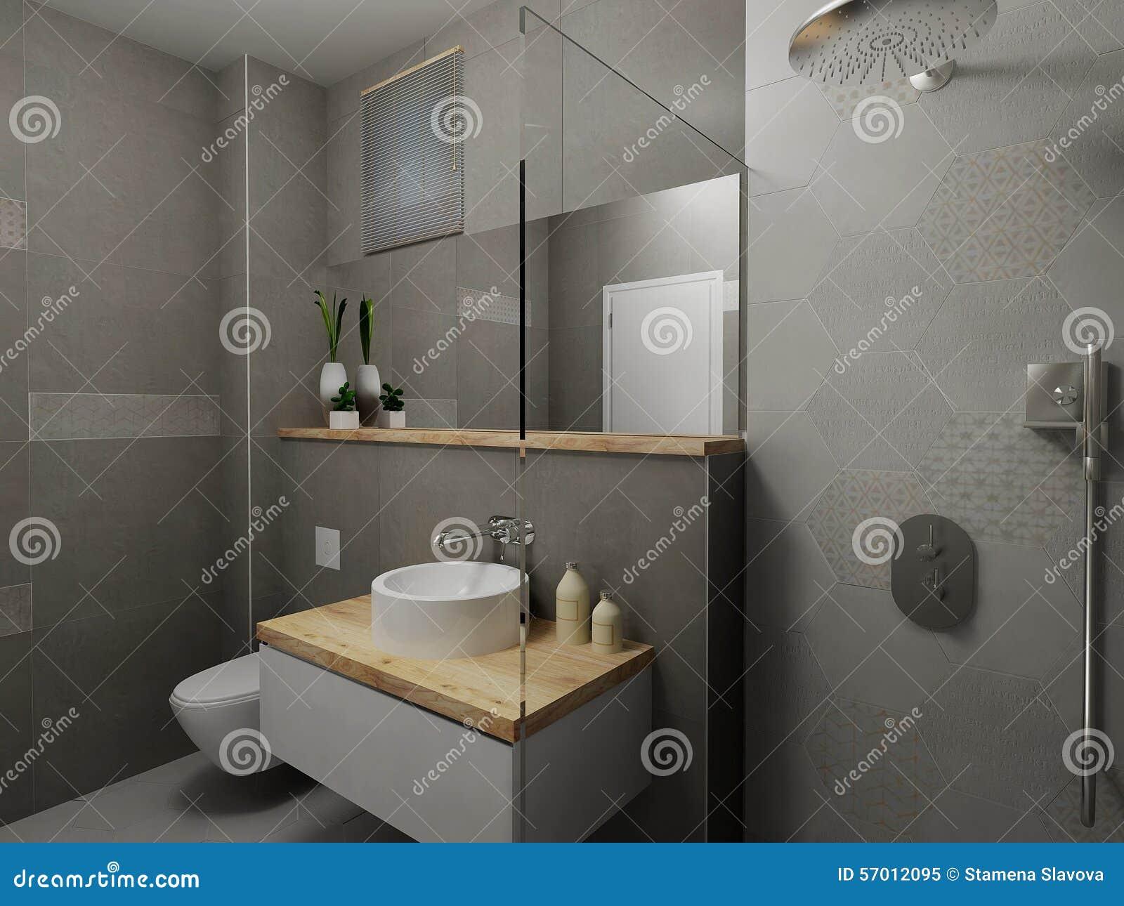 Moderne grijze badkamers stock illustratie illustratie bestaande