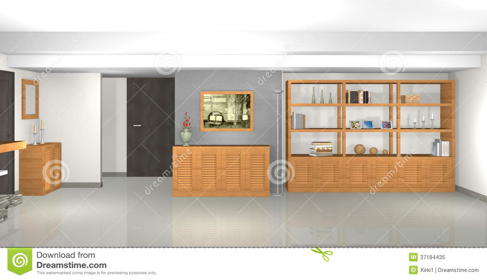 Moderne grijze woonkamer met bibliotheek en open haard royalty vrije stock foto afbeelding - Moderne bibliotheek ...