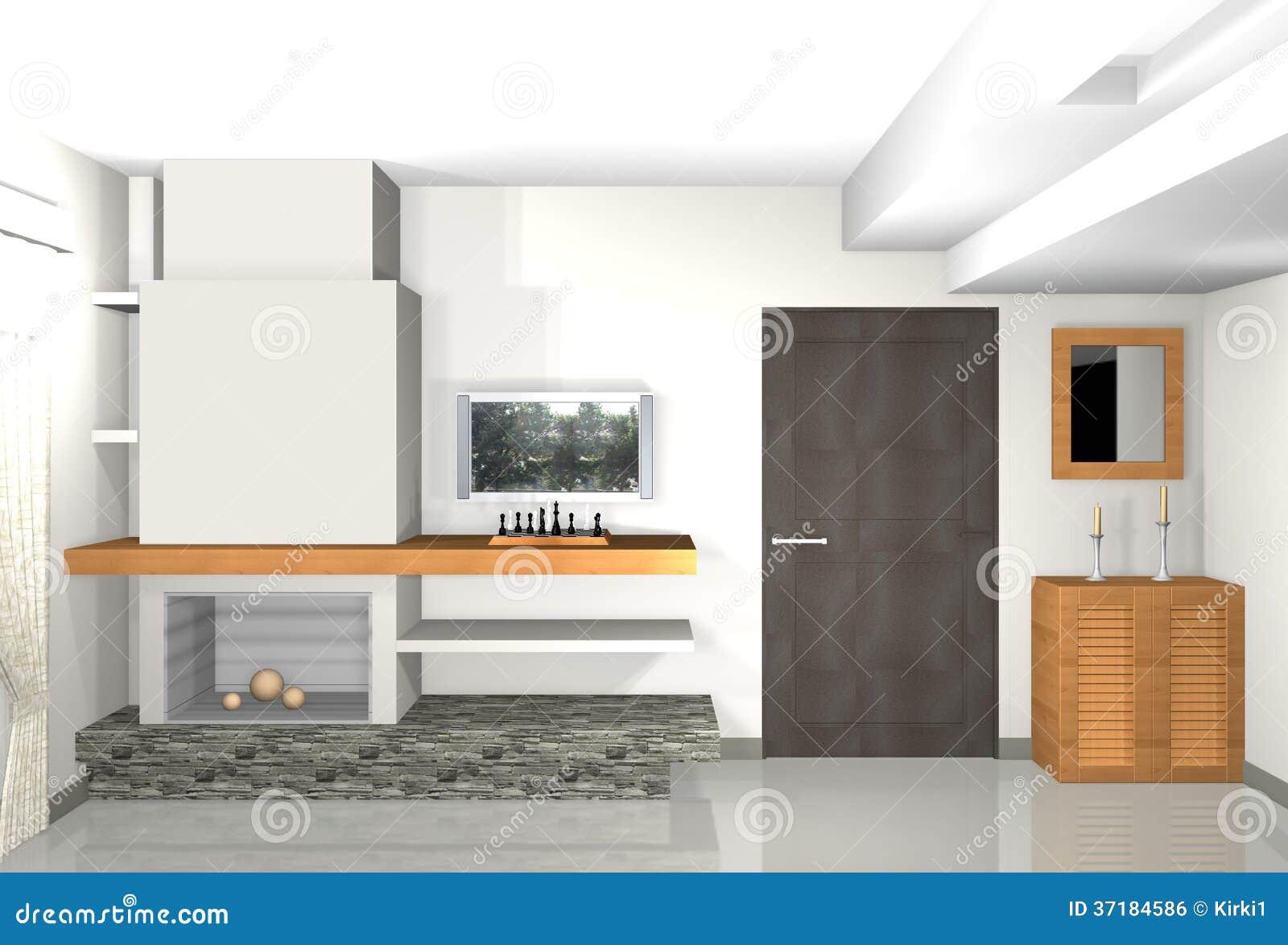 Moderne grijze woonkamer met bibliotheek en open haard royalty vrije stock afbeelding - Deco moderne open haard ...