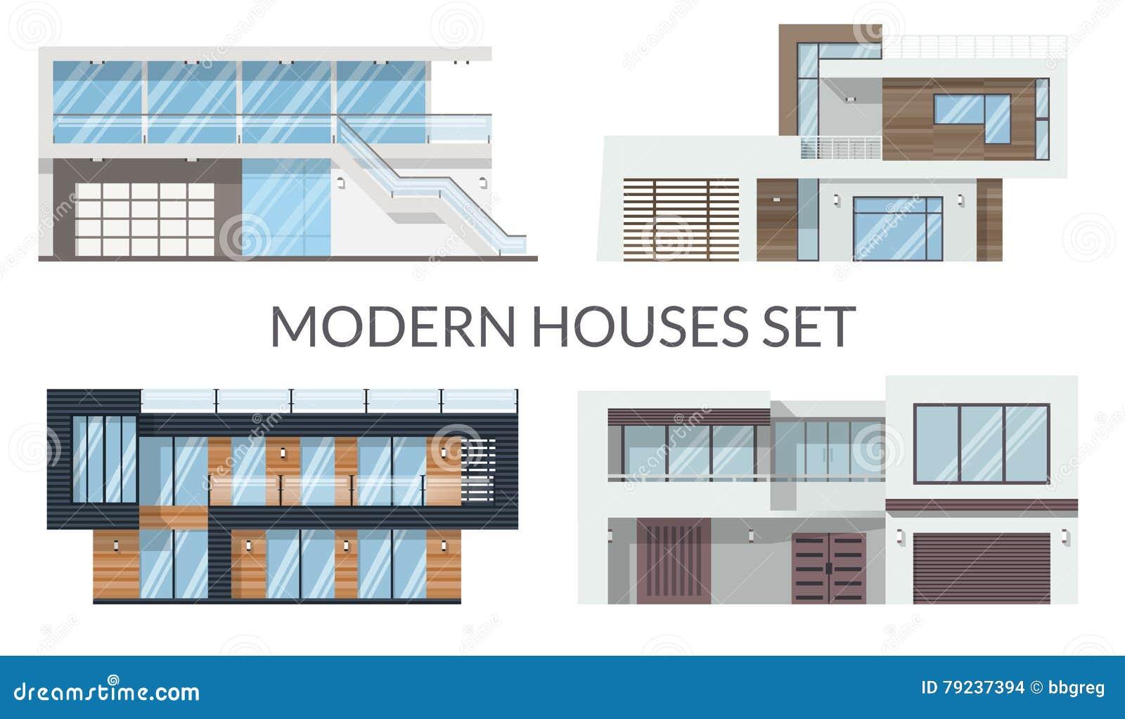 Moderne Große Häuser Stellten, Immobilien Unterzeichnet Herein ...