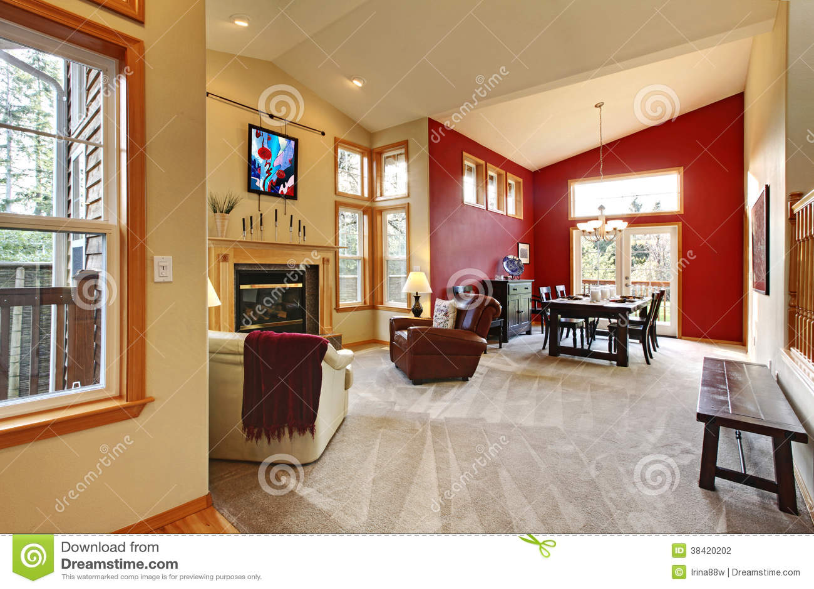Moderne Grote Open Woonkamer Met Rode Muur. Stock Fotografie - Beeld ...