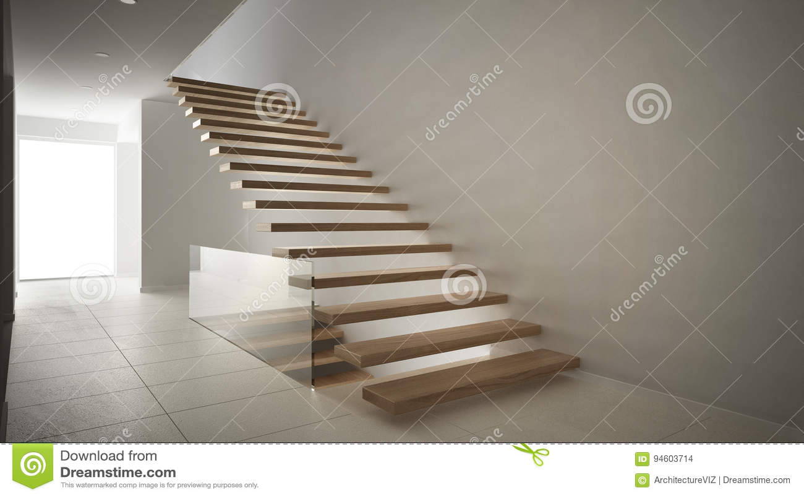 Moderne hal met houten trap minimalistisch wit int. stock