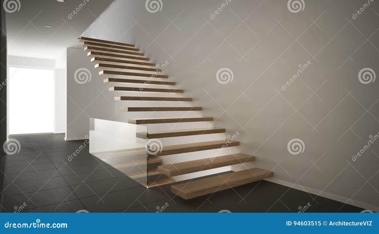Moderne hal met houten trap minimalistische wit en stock
