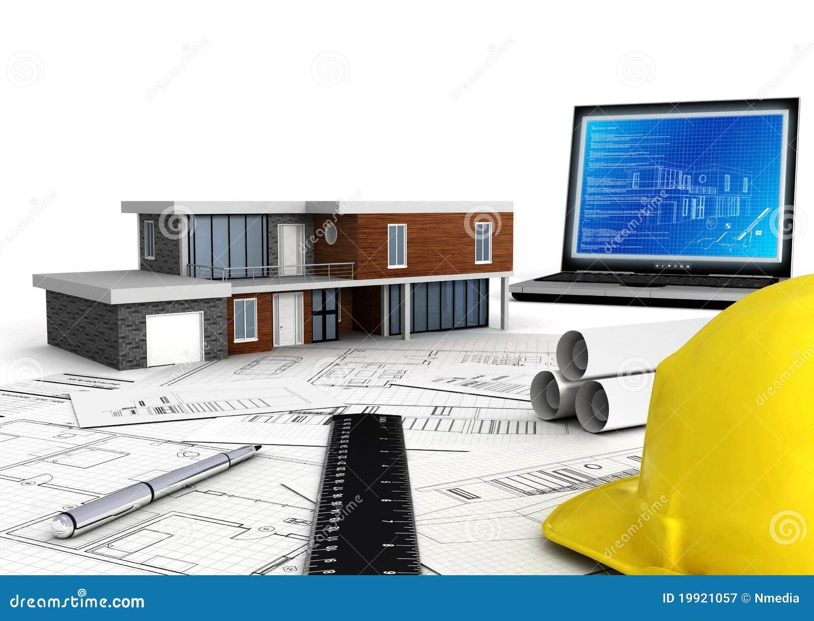 Moderne Haus-Auslegung stock abbildung. Illustration von bleistift ...