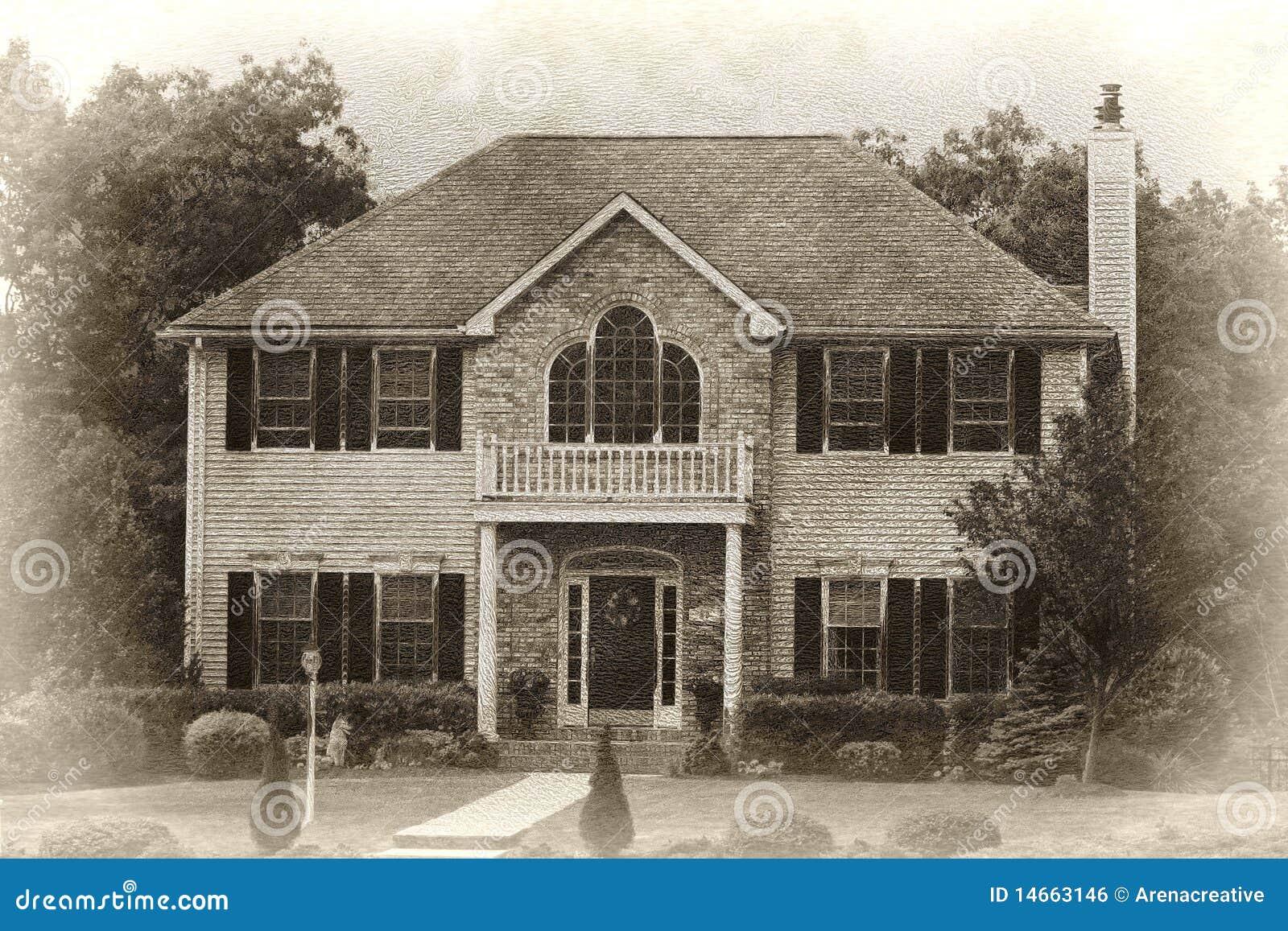 moderne haus skizze lizenzfreies stockbild bild 14663146. Black Bedroom Furniture Sets. Home Design Ideas