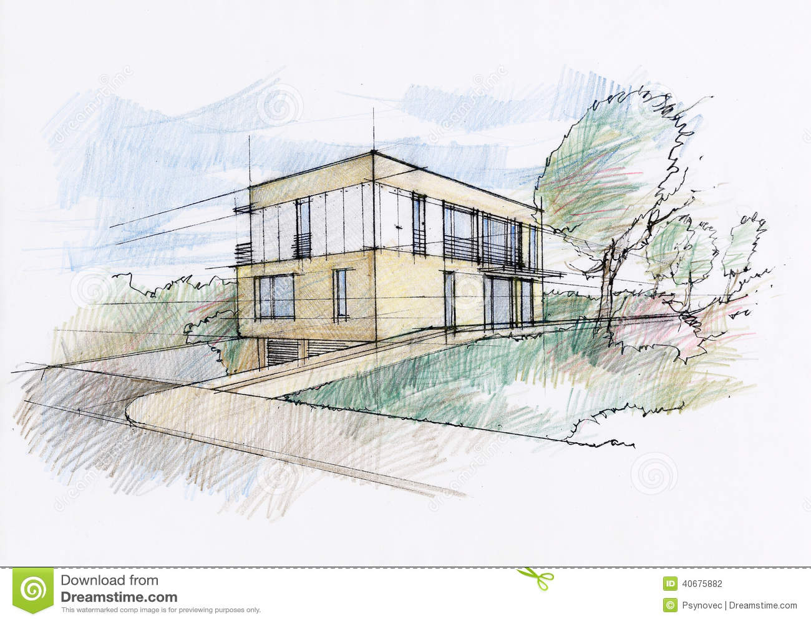 moderne haus skizze stock abbildung bild 40675882. Black Bedroom Furniture Sets. Home Design Ideas