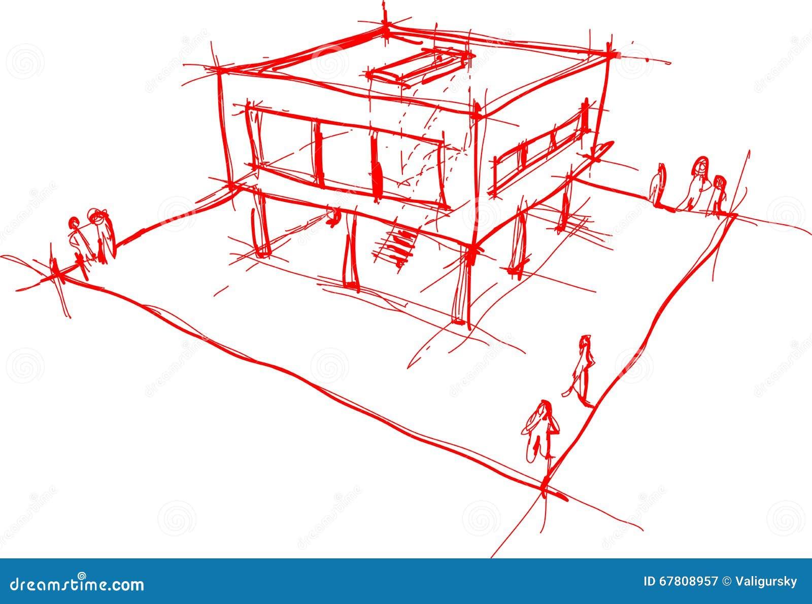 Moderne haus skizze vektor abbildung illustration von for Modernes haus skizze