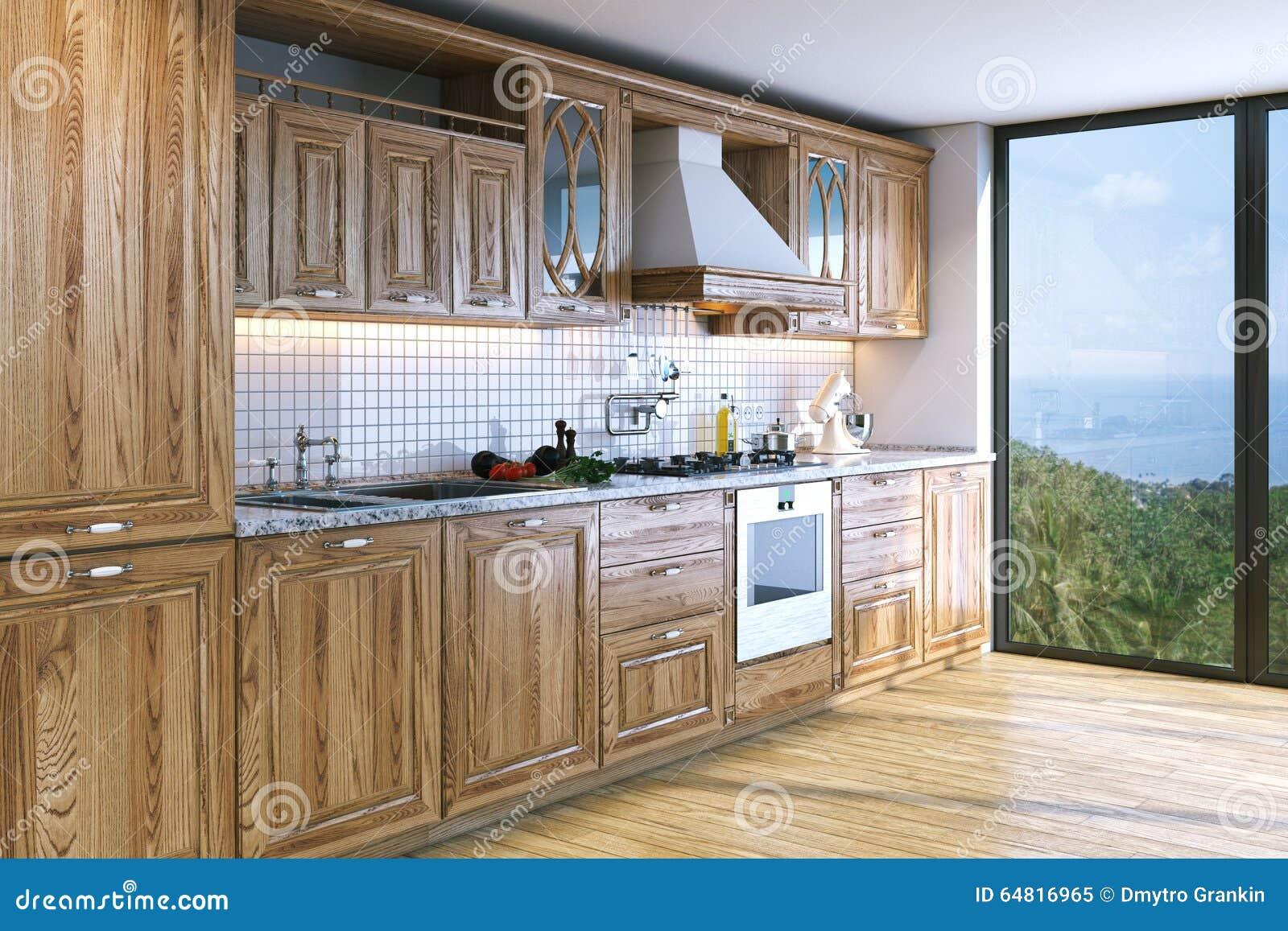 Moderne heldere houten keuken in villa op oceaaneiland d rende