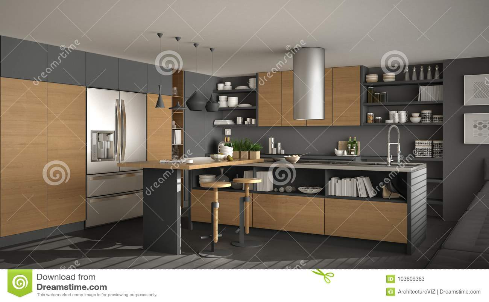 Grijze Houten Keuken : Moderne houten keuken met houten details witte en grijze minima
