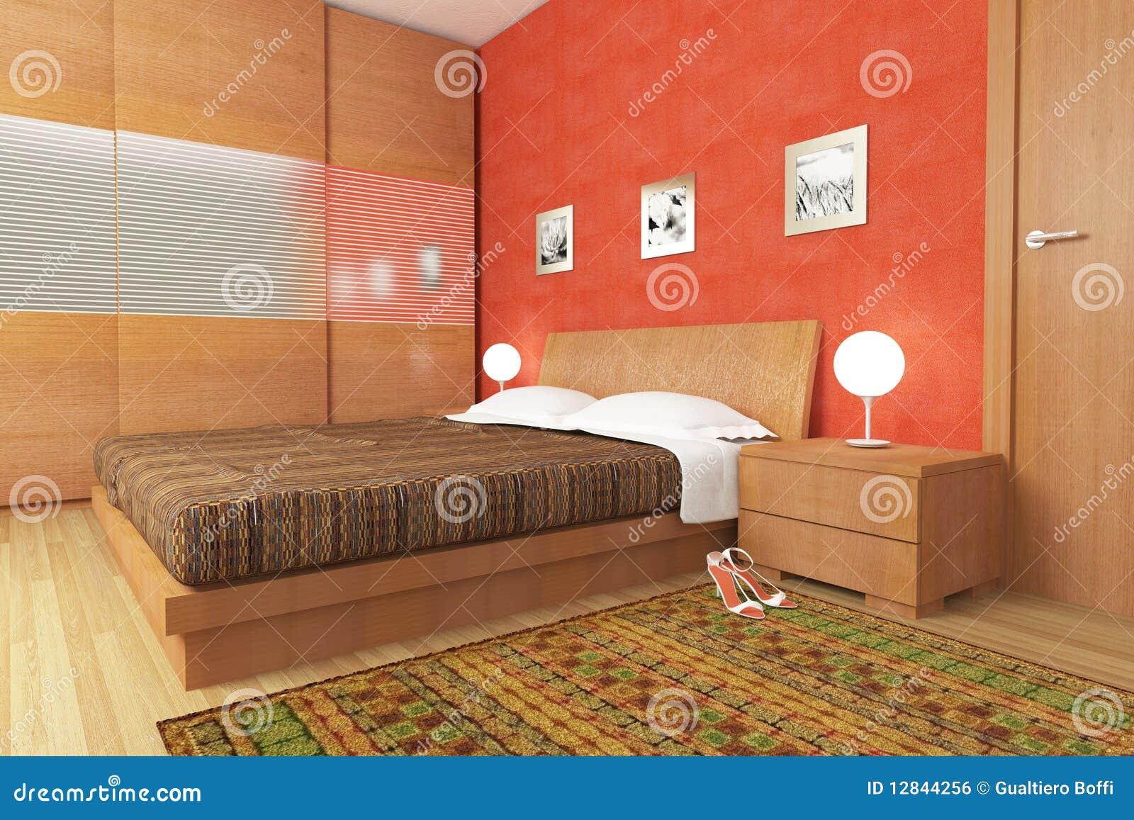 Moderne houten slaapkamer stock illustratie. illustratie bestaande