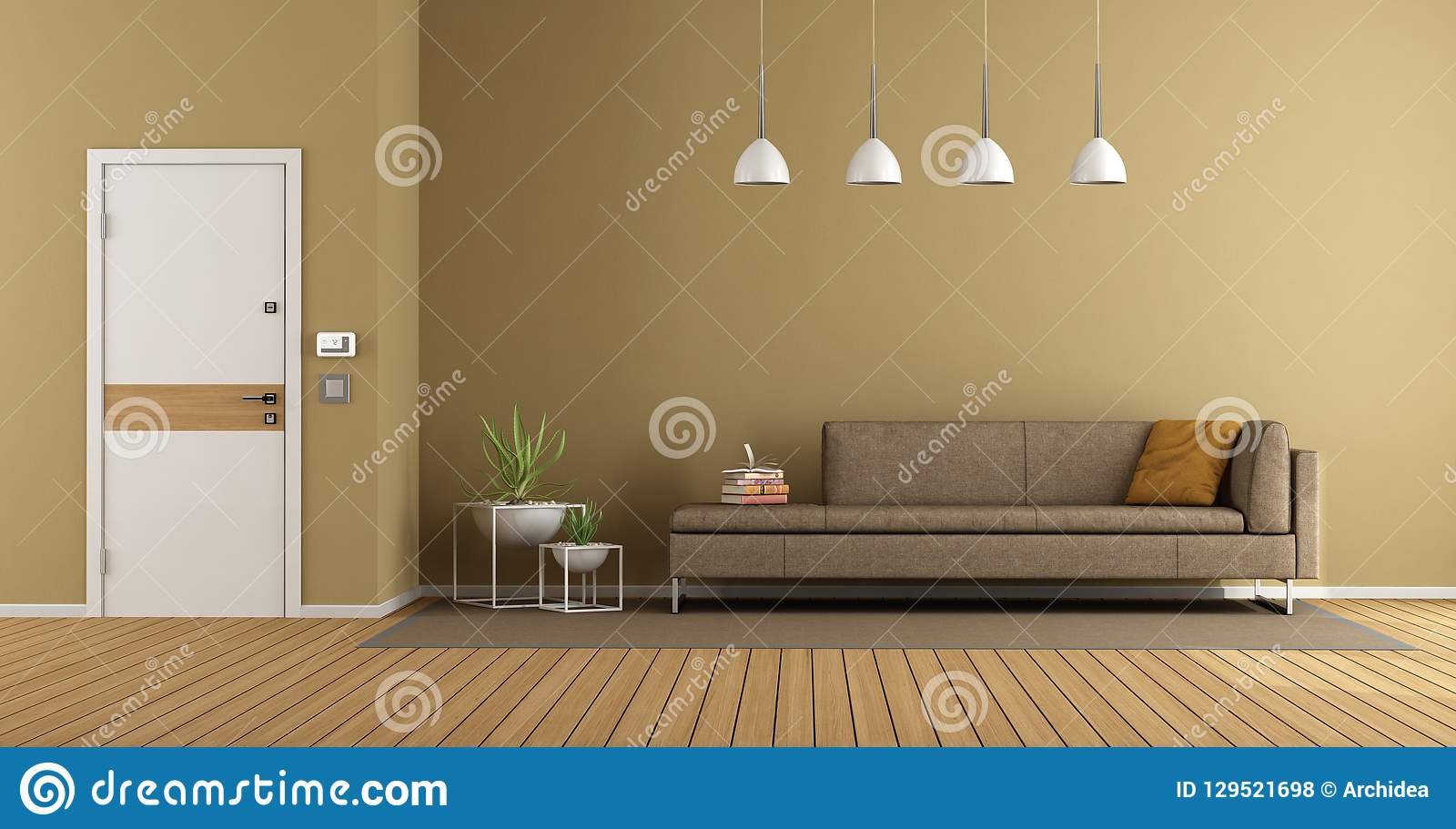 Moderne huisingang met bank stock illustratie illustratie