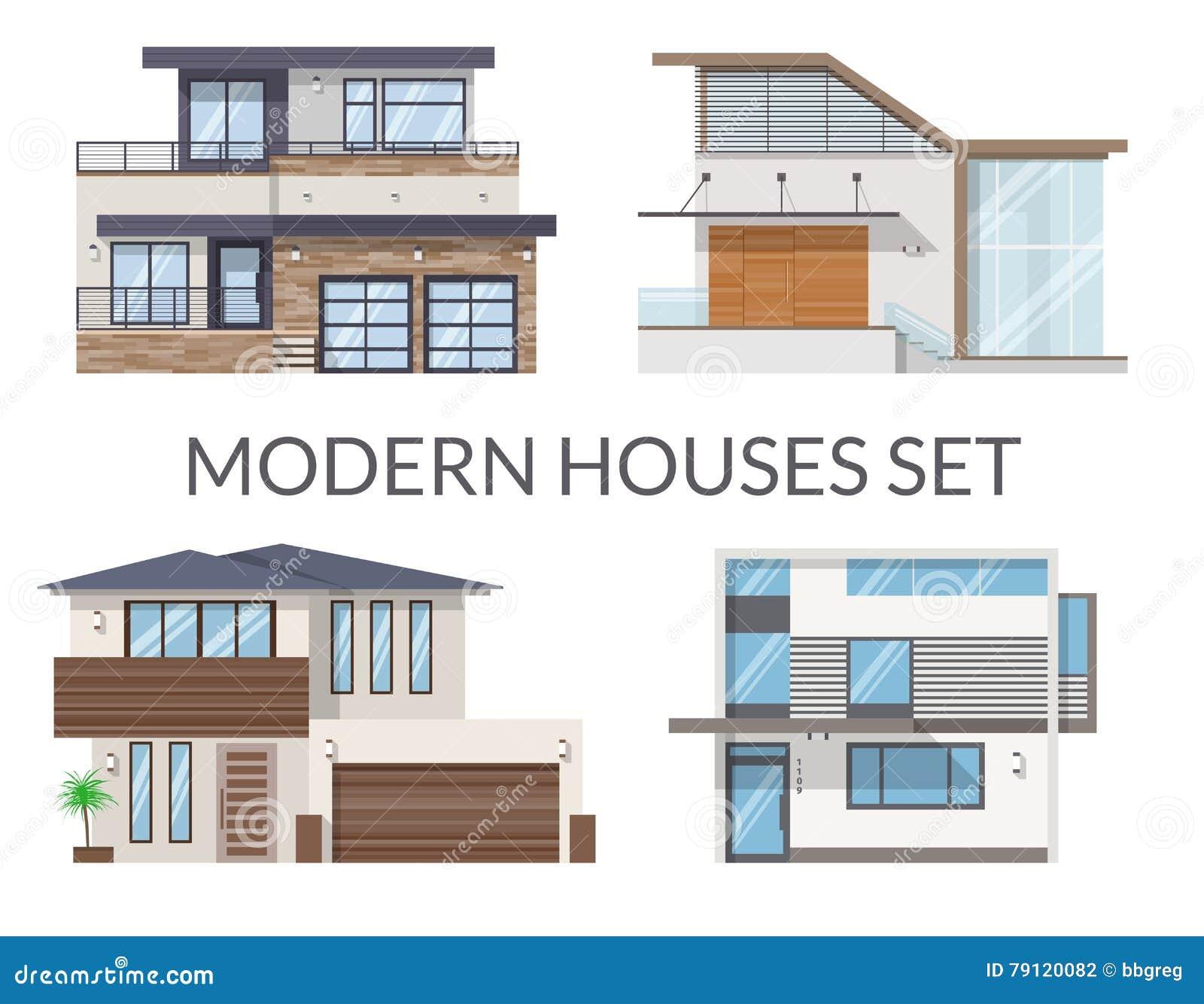 Moderne häuser stellten immobilien unterzeichnet herein flache art ein