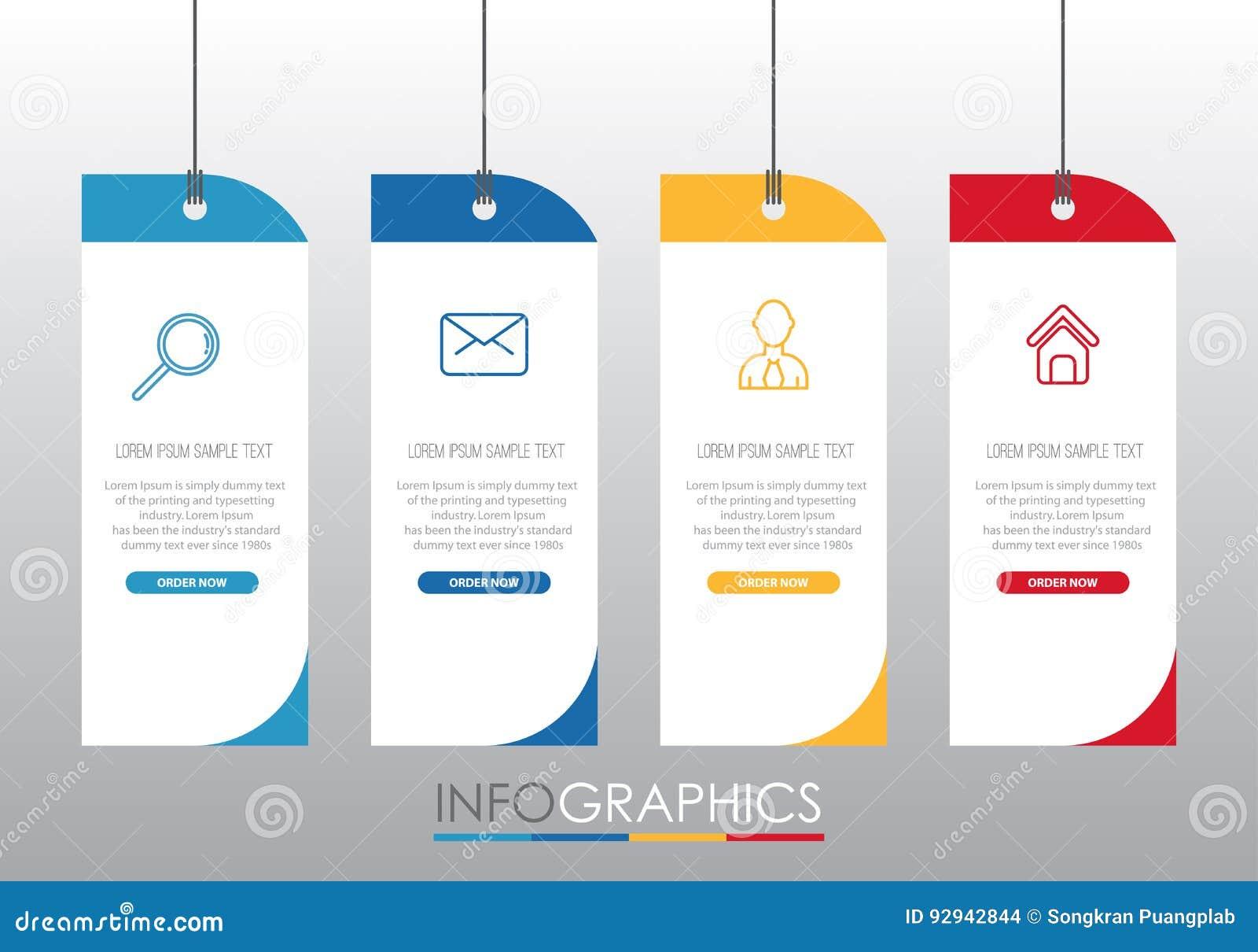 Moderne Information-Grafik Schablone für Geschäft mit vier Schritten Mehrfarbendesign, Aufkleber entwerfen, Vektorinformationgrap