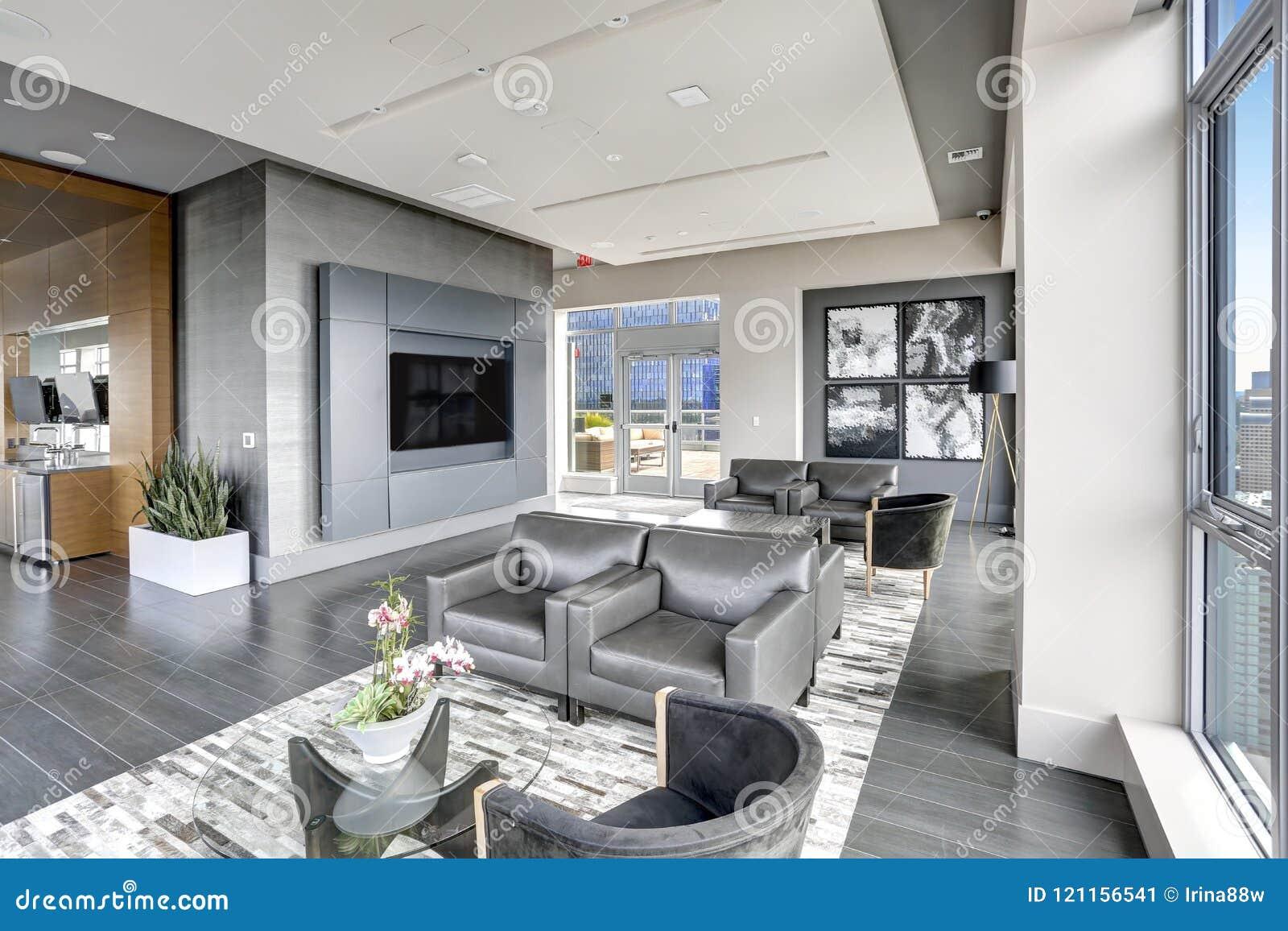 Moderne Innenarchitektur Des Wohnbereichs In Den Grauen Farben ...