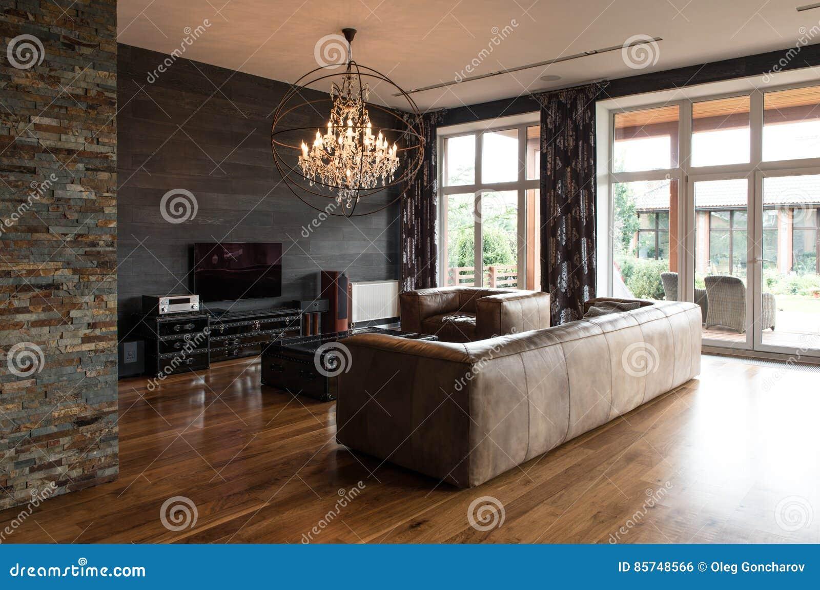 Moderne Innenarchitektur Des Wohnzimmers Stockfoto - Bild von ...