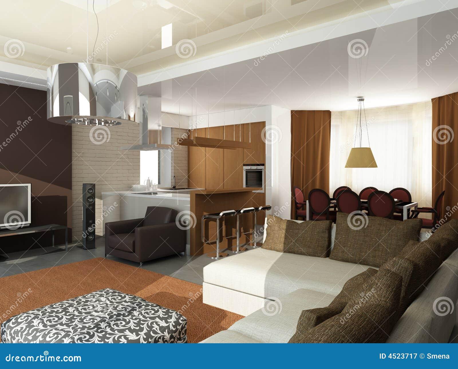 Moderne innenarchitektur privat wohnung 3d übertragen lizenzfreie
