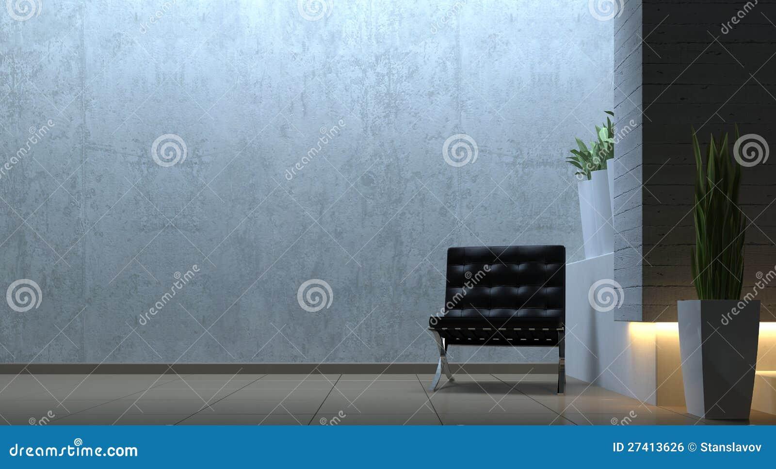 Moderne Innenszene mit Stuhl