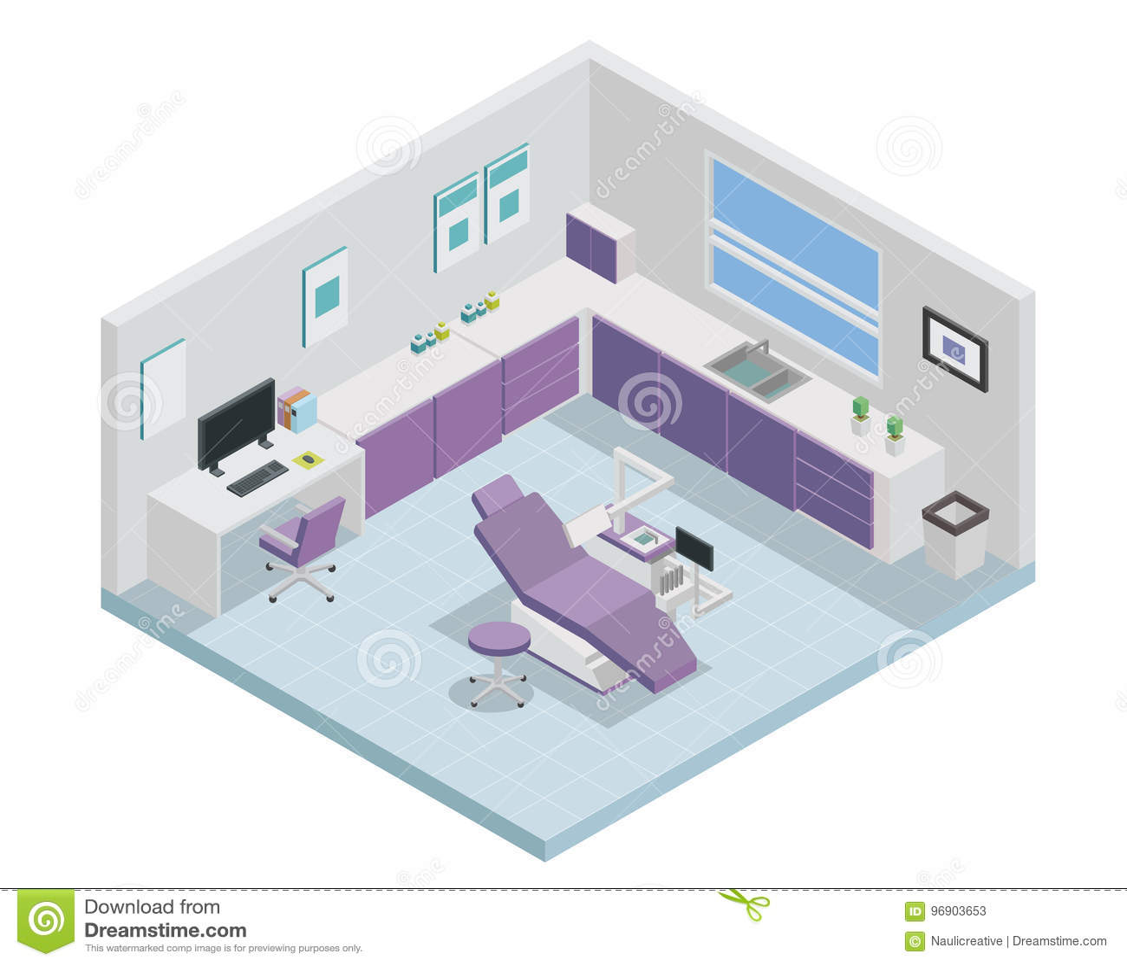 Moderne Isometrische Tandarts Clinic Interior Design