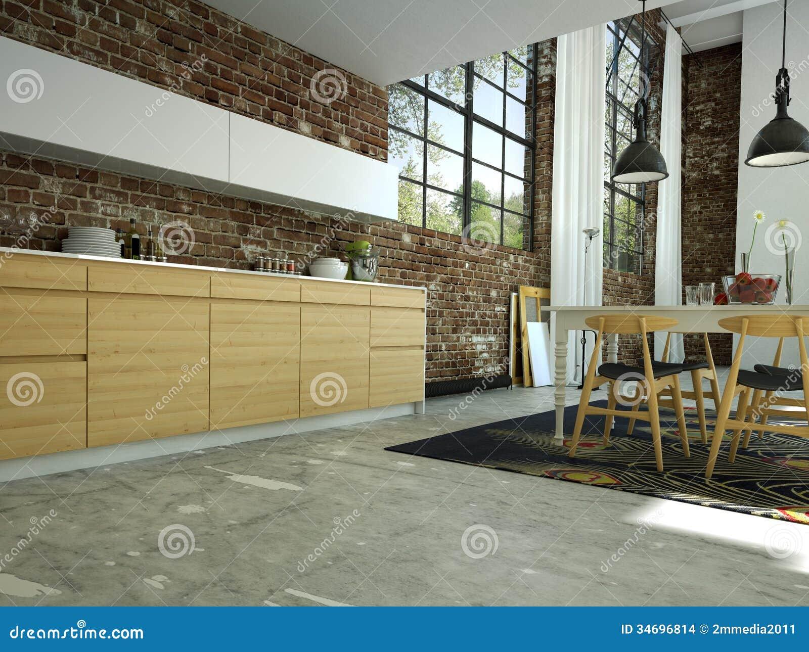 Moderne Küche stock abbildung. Illustration von ziegelstein - 34696814