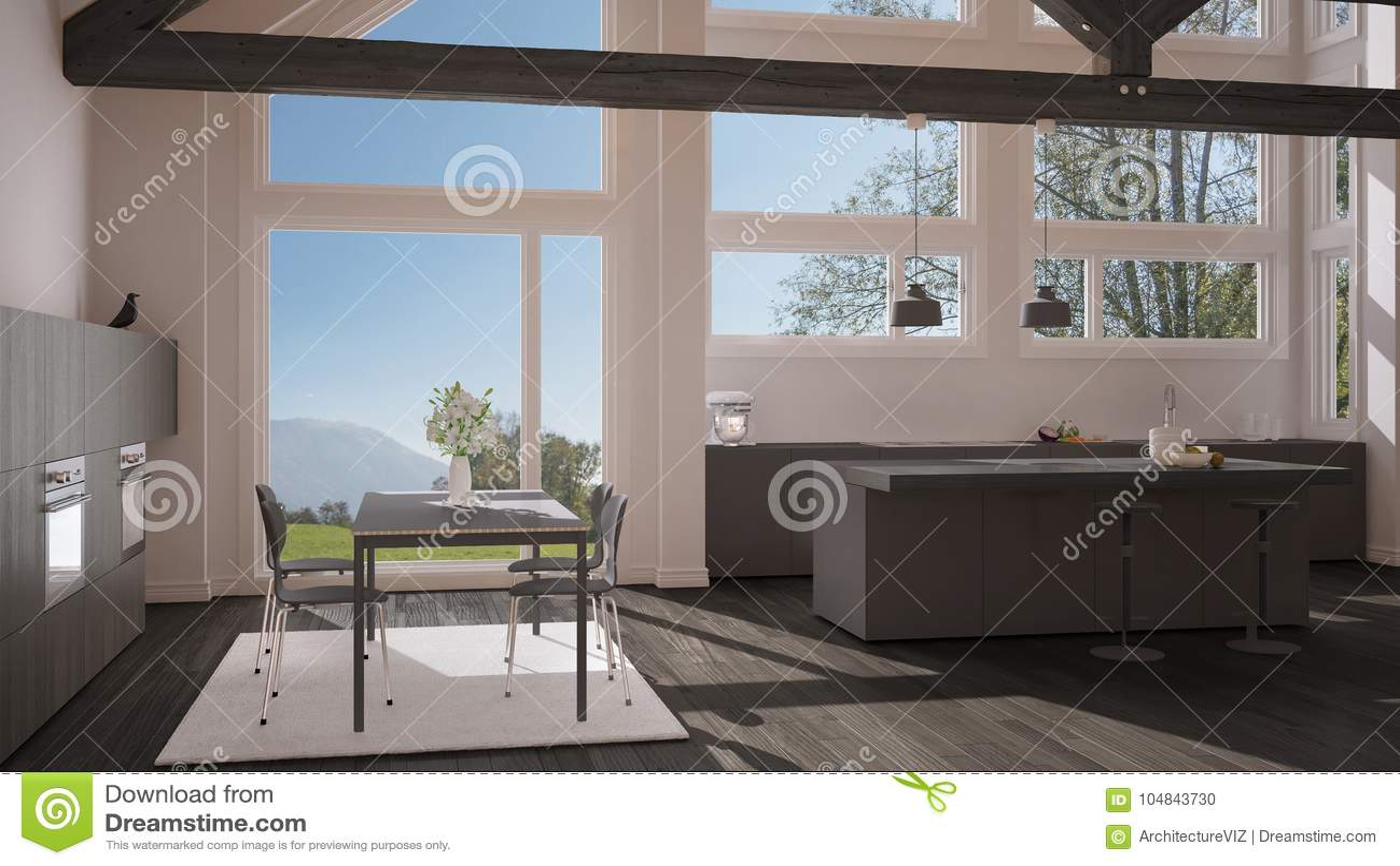 Moderne Küche Im Klassischen Landhaus, Dachboden, Große ...