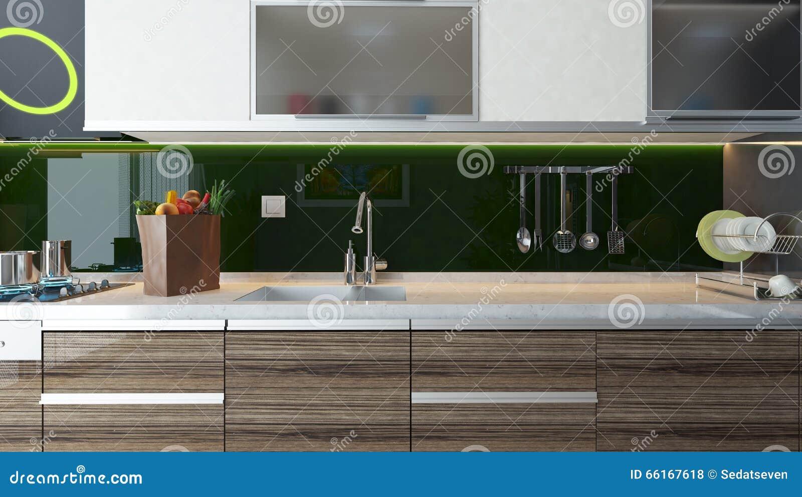 Moderne Küche-Innenarchitektur Stock Abbildung - Illustration von ...