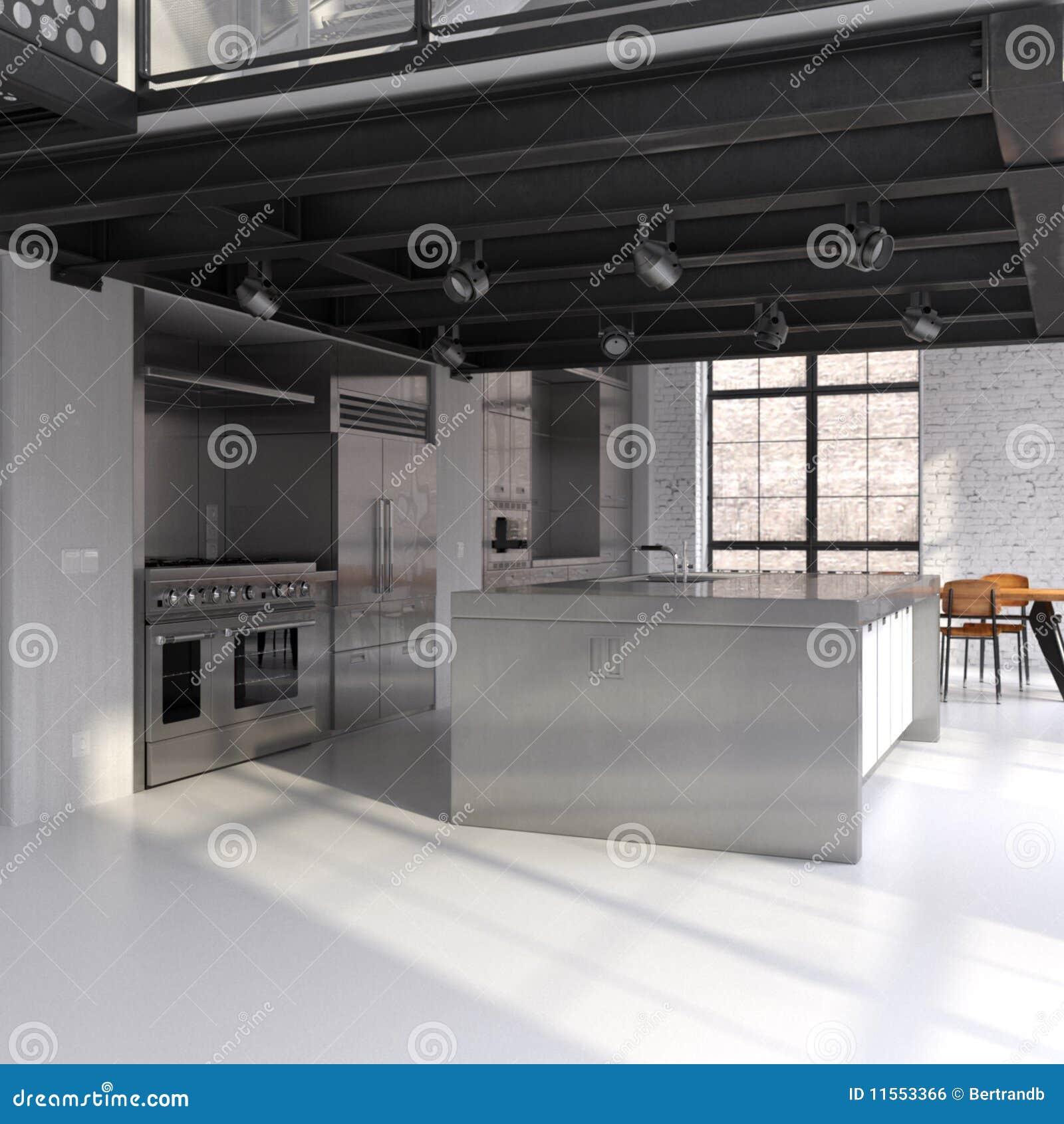 Moderne Küche In Konvertiertem Dachboden Stock Abbildung ...
