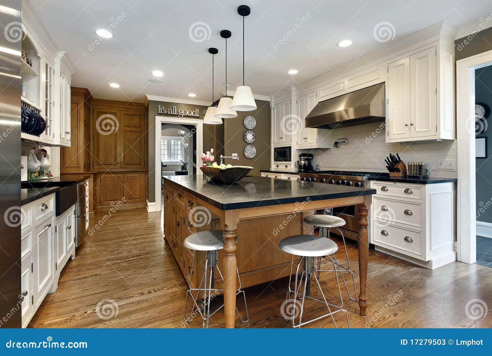 Moderne Küche Mit Mittelinsel Stockbild - Bild von luxus, mahlzeit ...