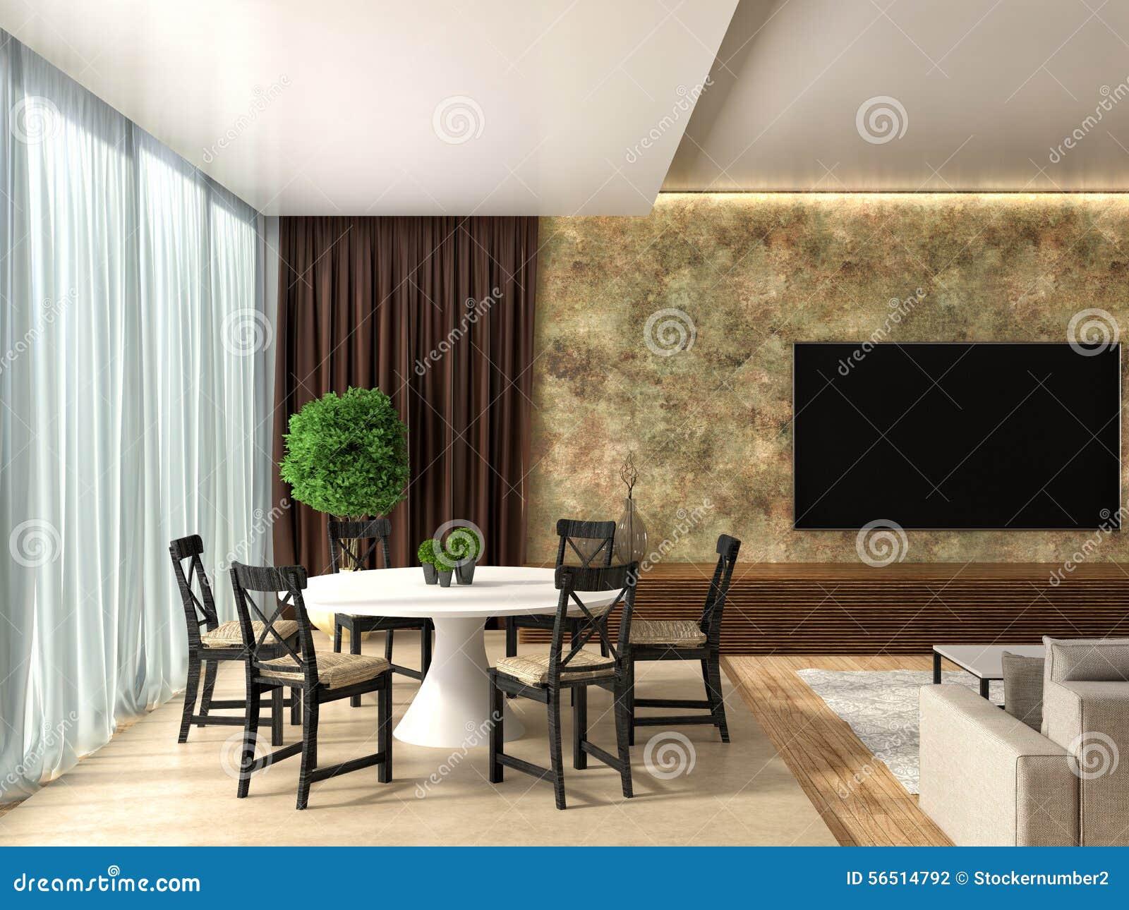 Moderne Küche Und Wohnzimmer Abbildung 3D Stock Abbildung ...