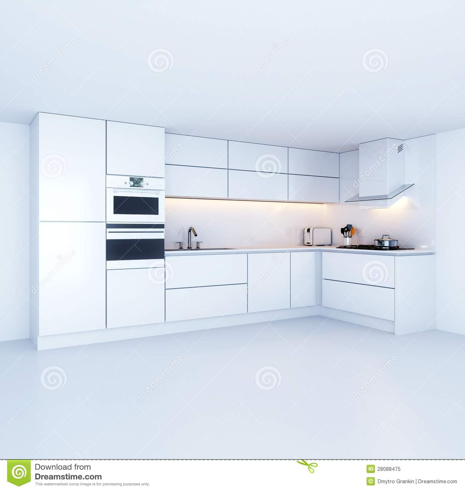Moderne Küchenschränke Im Neuen Weißen Innenraum Stock Abbildung ...