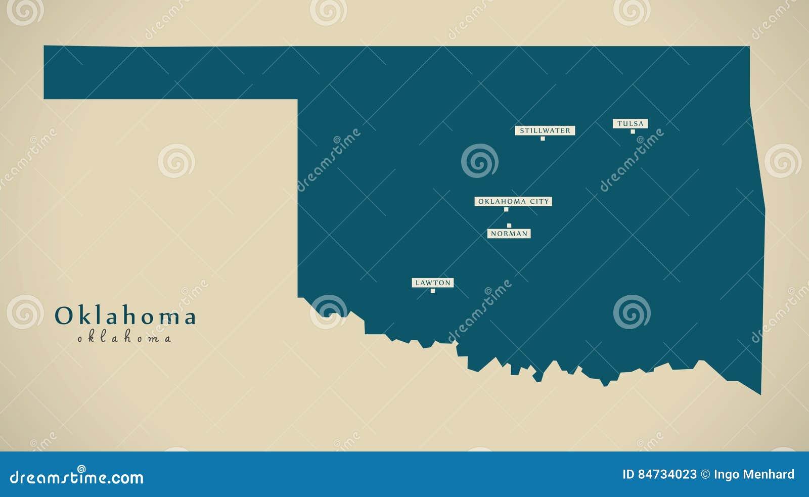 Moderne Kaart - de illustratiesilhouet van Oklahoma de V.S.