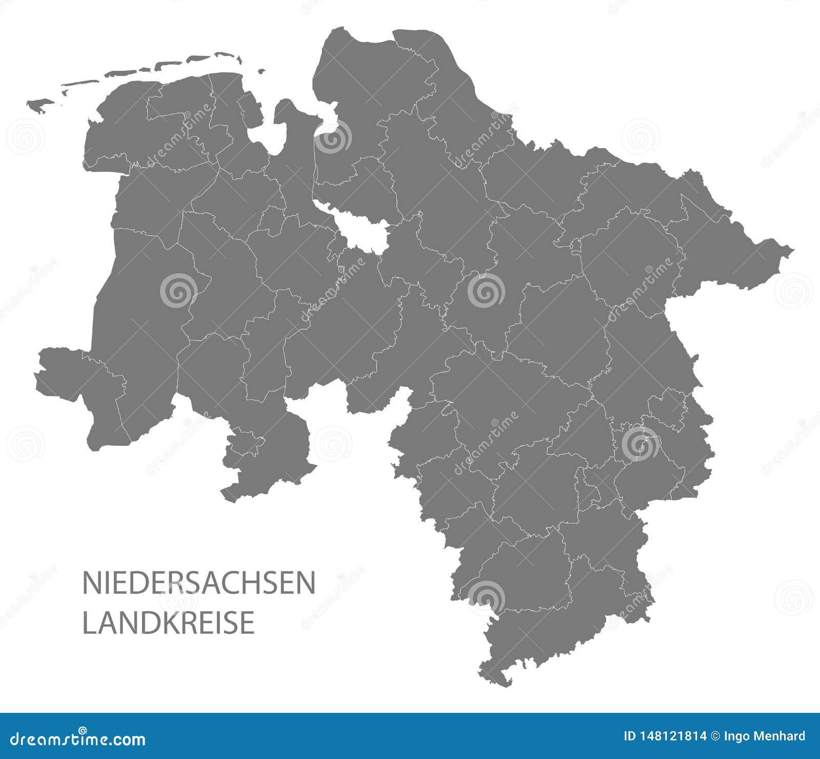 Moderne Kaart De Kaart Van Nedersaksen Van Duitsland Met Grijze